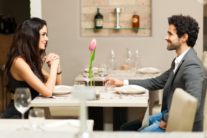 Cheerful couple in a restaurant