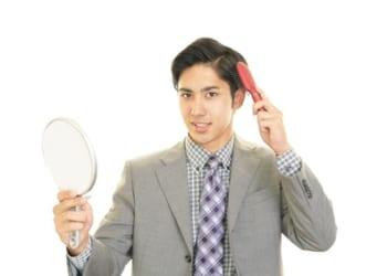 男性の服装、鏡